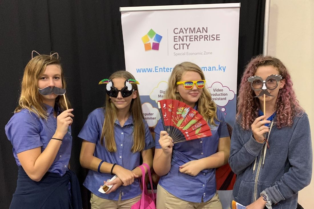 Students participate in Cayman Enterprise City photo booth at career fair