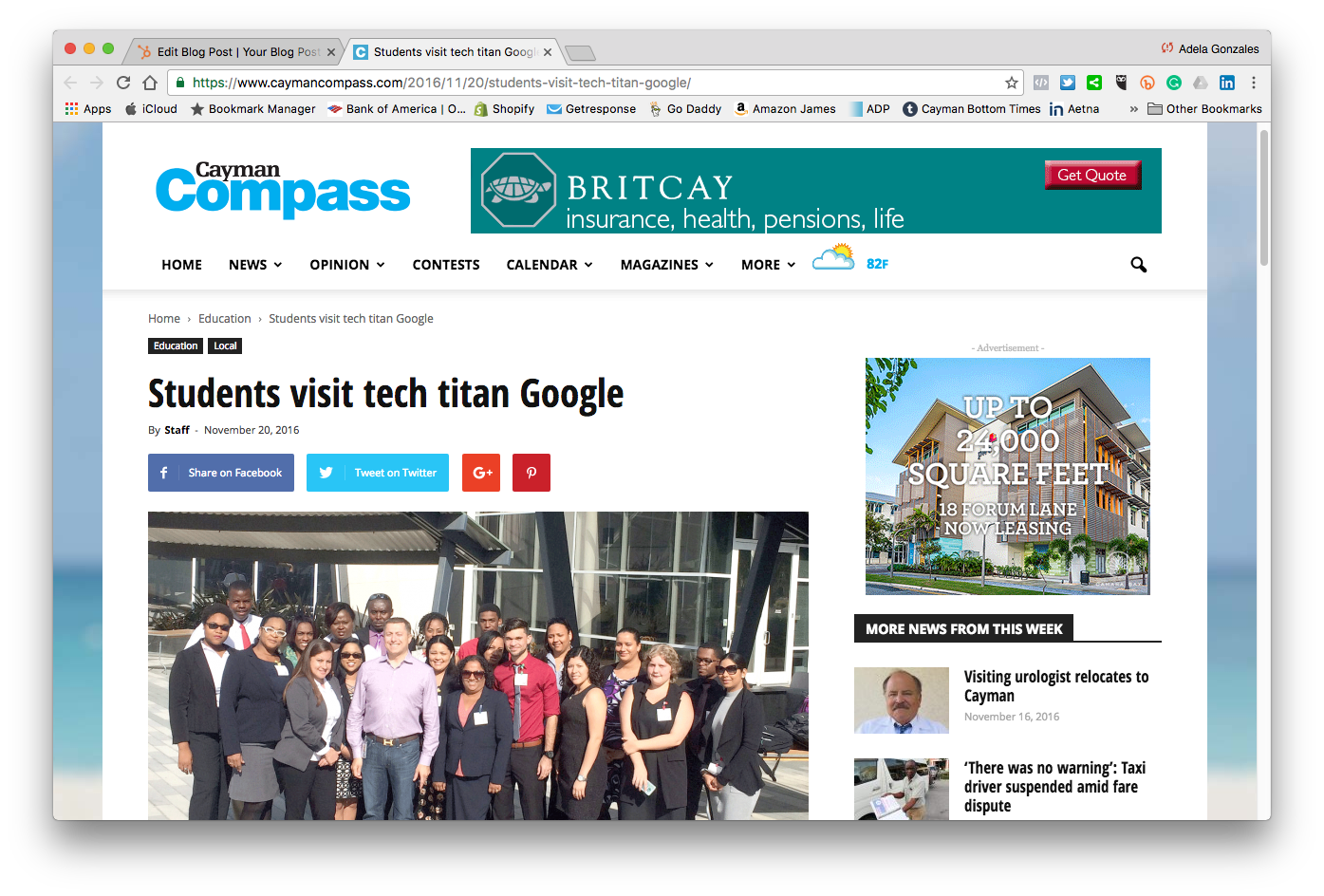 Students visit tech titan Google | Cayman Compass 2016-11-21 15-52-18.png